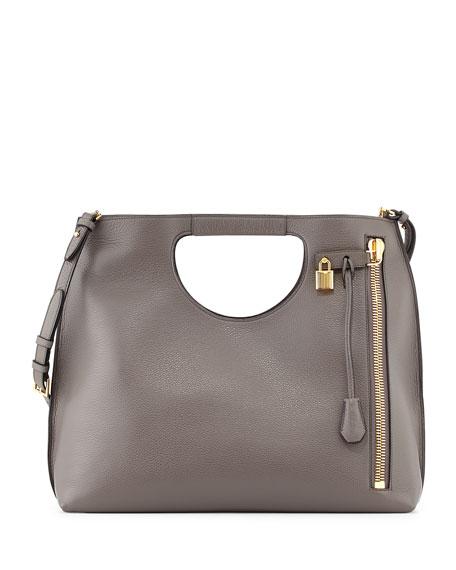 TOM FORD Alix Padlock & Zip Shoulder Tote Bag, Graphite