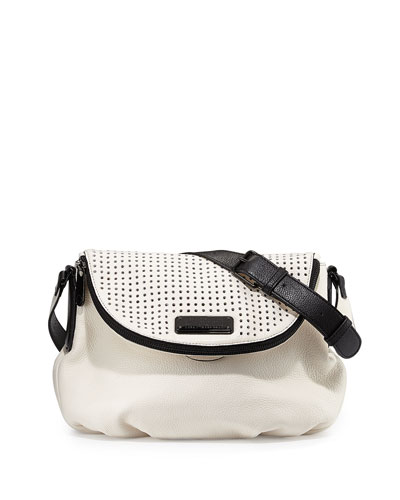 New Q Natasha Perforated Crossbody Bag, Leche