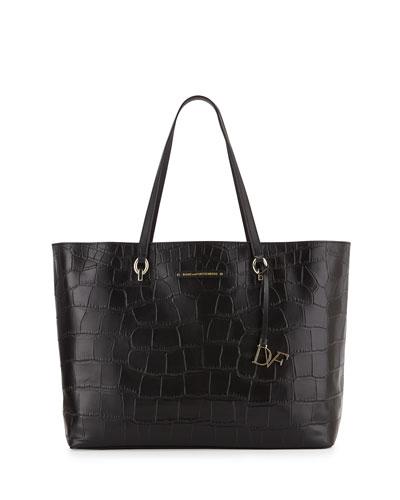 Voyage Ready-to-Go Croc-Print Tote Bag, Black