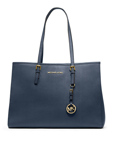 Jet Set Large Saffiano Travel Tote Bag, Navy