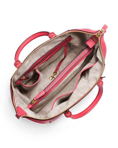 Riley Large Pebbled Leather Satchel Bag, Watermelon