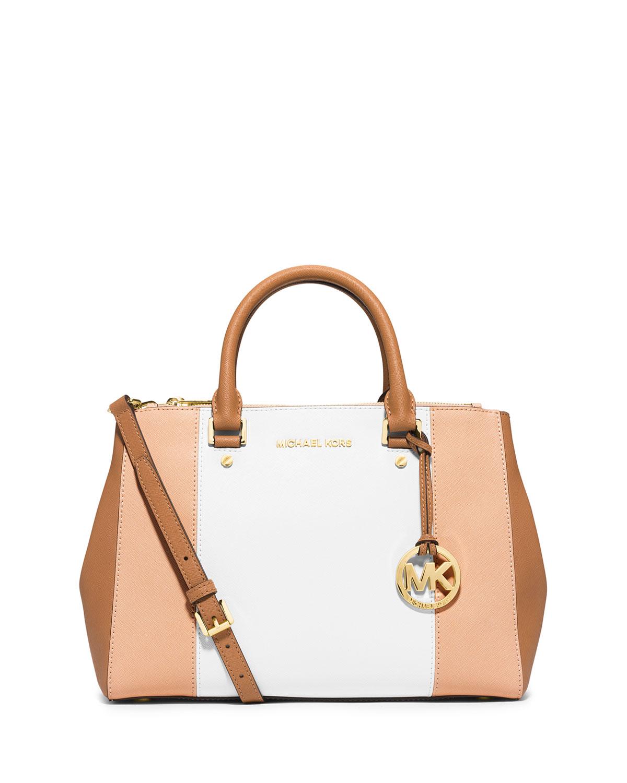 0f10a88712f7 MICHAEL Michael Kors Sutton Tri-Tone Medium Saffiano Leather Satchel Bag,  Nude/White