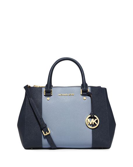 MICHAEL Michael Kors Sutton Medium Saffiano Satchel Bag, Navy/Pale ...