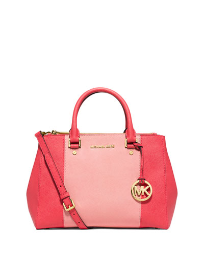 Sutton Medium Saffiano Satchel Bag, Watermelon/Pink