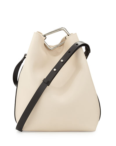 Quill Calfskin Bucket Bag, Powder