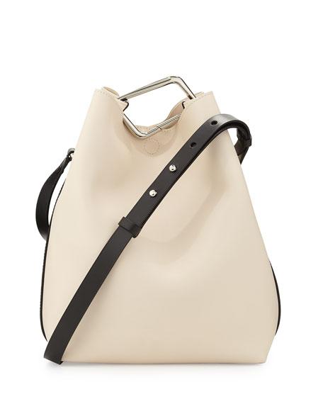 Quill Calfskin Bucket Bag, Powder