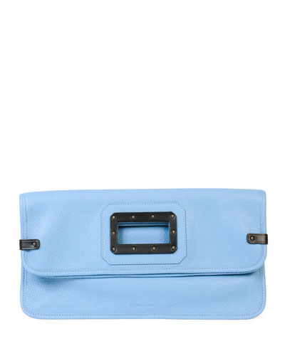 Calfskin Fold-Over Clutch Bag, Sky/Black