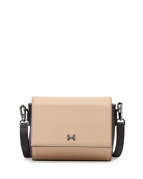 Structured Mini Leather Crossbody Bag, Ash/Black