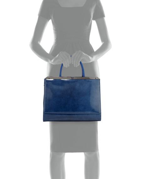 Halston Heritage Large Satchel Bag with Strap, Cobalt