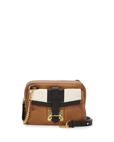 Small Pebbled Crossbody Bag, Tan Multi