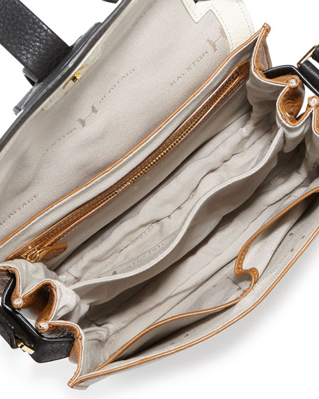 Medium Flap Leather Shoulder Bag, Tan Multi
