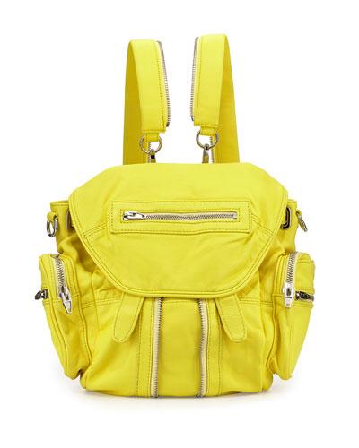 Mini Marti Washed Lambskin Backpack, Pale Citron
