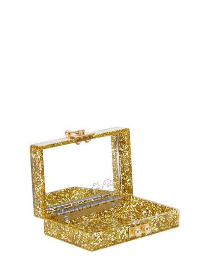 Minnie Acrylic Chevron Clutch Bag, Gold