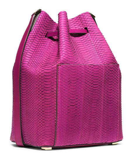 Michael Kors Collection Miranda Large Sueded Snakeskin Drawstring Messenger Bag, Fuchsia