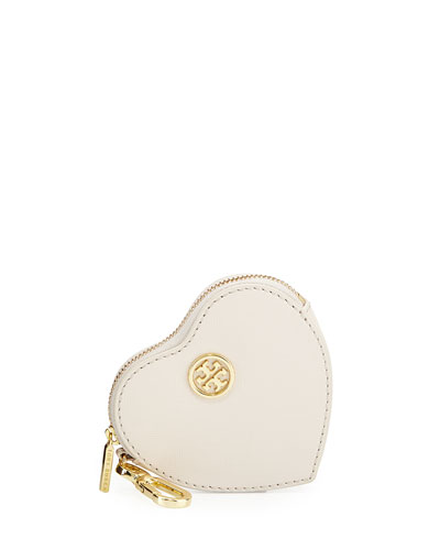 Heart-Shaped Leather Key Fob, Powder Puff
