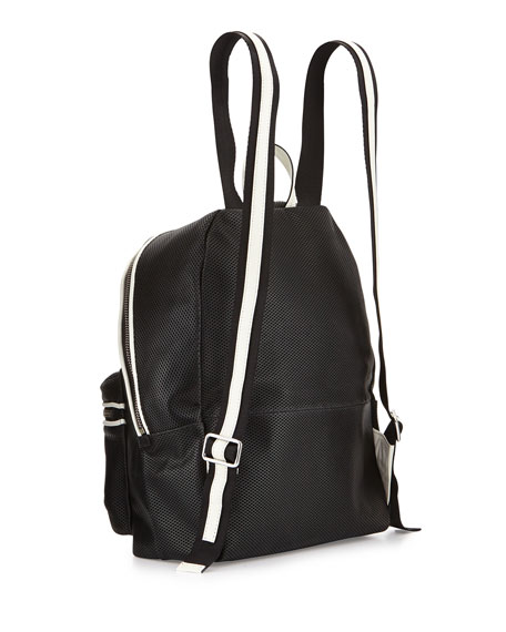 Cynnie Perforated Backpack, Black/Ivory
