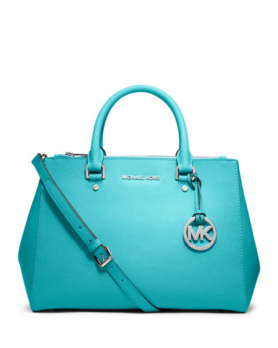 Sutton Medium Saffiano Satchel Bag, Aquamarine