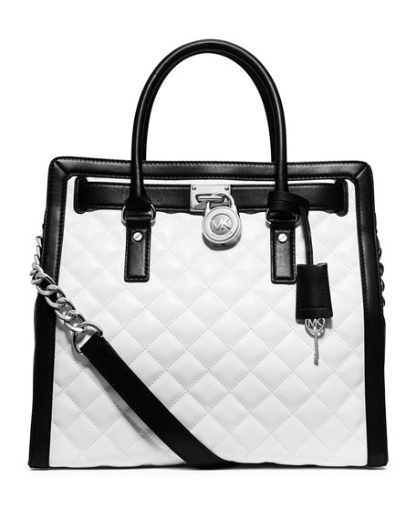 Hamilton Quilted North-South Tote Bag, Optic White/Black