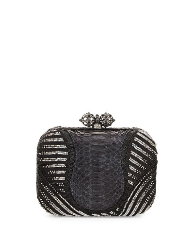 Batasha Beaded Python Evening Clutch Bag, Black