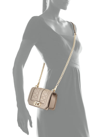 Mini Love Quilted Crossbody Bag, Taupe