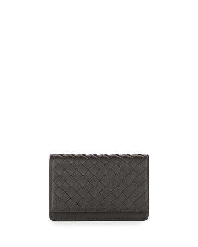 Woven Flap Credit Card Case, Ardoise Dark Gray