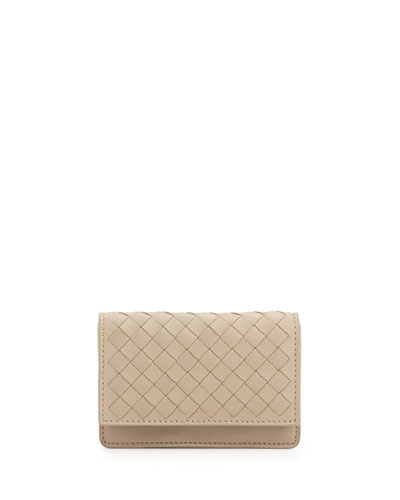 Woven Leather Flap-Style Credit Card Case, New Light Grey