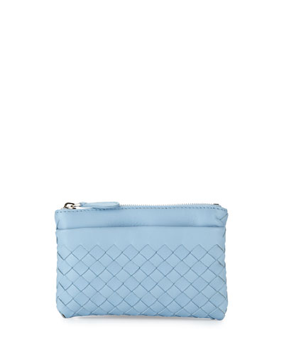 Zip-Top Woven Leather Key Pouch, Ciel Baby Blue