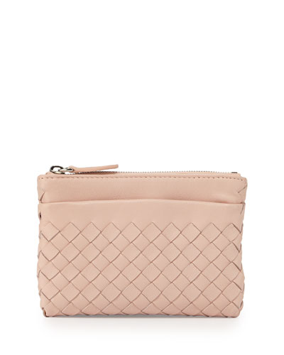 Zip-Top Woven Leather Key Pouch, Flamingo Light Pink