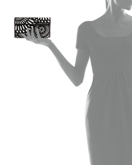 Crocodile Clutch Bag w/ Cutout Overlay, Black/White