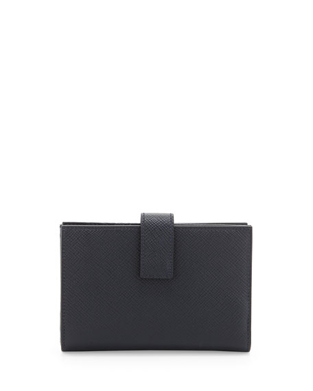 Smythson Panama Medium Continental Wallet, Navy