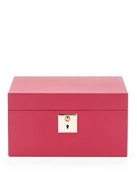 Smythson Panama Single-Tray Jewelry Box, Fuchsia