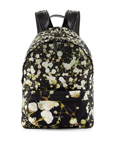 Baby's Breath Printed Large Backpack, Black/Multi