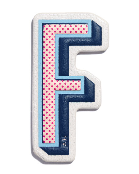 """F"" Leather Sticker for Handbag"