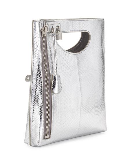 Alix Zip & Padlock Crossbody Bag, Silver