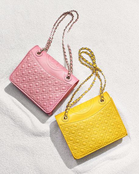 Fleming Quilted Medium Flap Shoulder Bag, Reptile Yellow