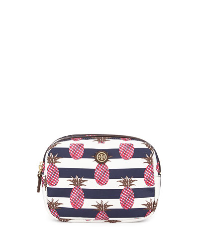 Printed Nylon Small Double Cosmetics Case, Pineapple Stripe