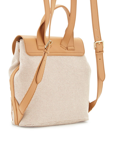 Lonnie Canvas Beach Backpack, Natural Vachetta