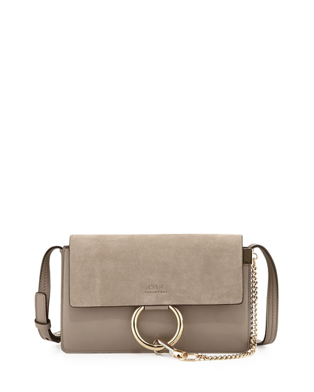 imitation chloe handbags - Chloe Faye Small Suede Shoulder Bag, Gray