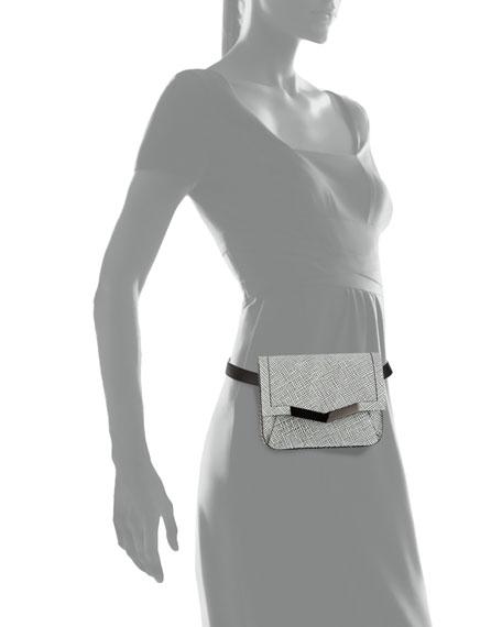 Grid-Leather Belt Bag, White