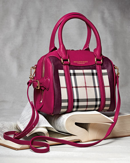 Burberry Prorsum Leather-Trim Handbag, Tulip Pink/Purple