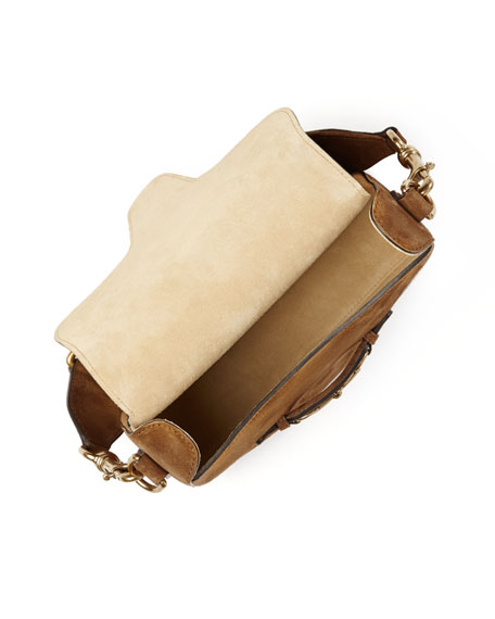Lady Web Medium Suede Crossbody Bag, Brown