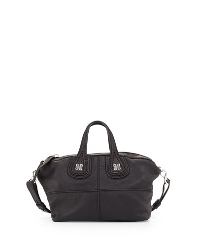 Nightingale Micro Leather Satchel Bag, Black