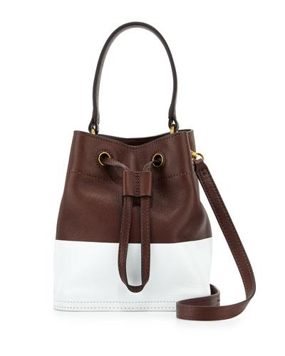 Mini Colorblock Leather Bucket Bag, Barrel/White