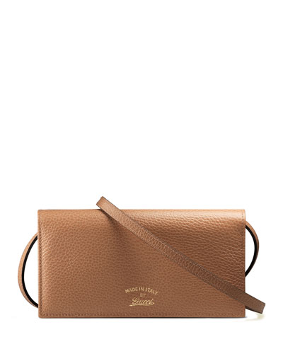 Swing Leather Wallet with Strap, Camel/Blue