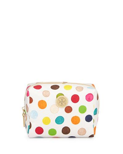 Brigitte Polka Dot Cosmetics Bag, White/Multicolor