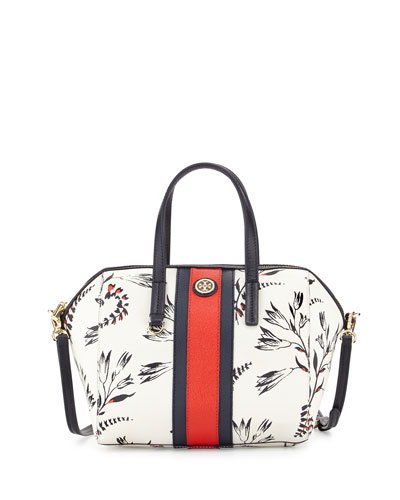 Kerrington Stripe Satchel Bag, Cape Floral