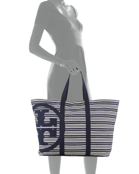 Denim and White Striped Beach Bag jnNk5PvWi
