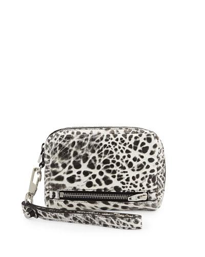 Fumo Large Zip Wristlet/Wallet, White/Black