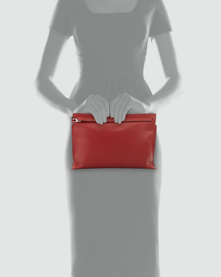 Loewe Large Leather Pouch Bag, Red