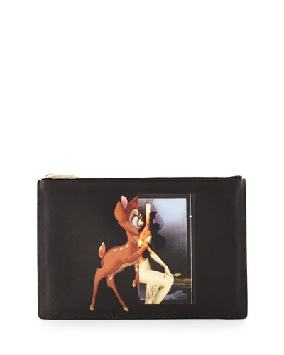 Deer and Figure Medium Flat Pouch, Black